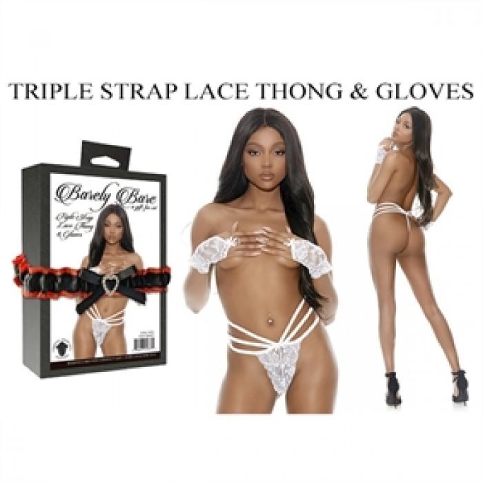 TRIPLE STRAP LACE THONG & GLOVES, WHITE